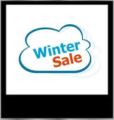 Winter sale word on cloud, isolated photo frame — Foto Stock