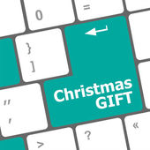 Computer keyboard key with christmas gift words — Stock fotografie