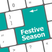 Festive season button on modern internet computer keyboard key — Stock Photo