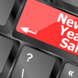 Computer keyboard with holiday key - new year sale — Stock Photo