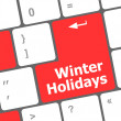 Stock Photo: Computer keyboard key with winter holidays words