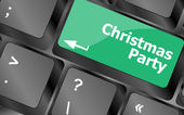 Computer keyboard key with christmas party words — 图库照片