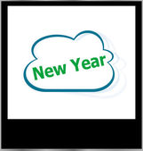 New year word on cloud, isolated photo frame — Stock Photo