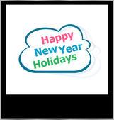 Joyeux nouvel an vacances nuage de mot sur le cadre photo, isolé — Photo