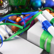 Christmas gift box with decoration — Stock fotografie