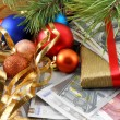 Decorated christmas tree with money, traditional new year holiday card — Stock Photo