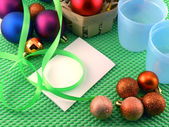 Christmas balls on green background, new year decoration — Stock Photo