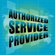 Stock Photo: Business concept, authorized service provider, digital touch screen interface