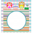 Stock Photo: Birthday party elements with cute owls and birds