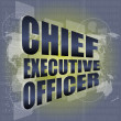 Chief executive officer words on digital screen background with world map — Stock Photo