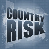 Country risk words on digital screen with world map — Stock Photo
