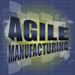 Photo: Business concept, agile manufacturing on digital touch screen interface