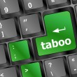 Taboo button on computer keyboard pc key — Stock Photo
