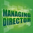 Managing directors words on digital screen background with world map — Stock Photo