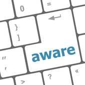 Aware word on keyboard key, notebook computer — Stock Photo