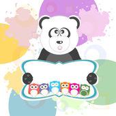 Verjaardag partij elementen met schattige uilen en panda — Stockfoto