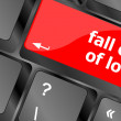 Stock Photo: Modern keyboard key with words fall out in love
