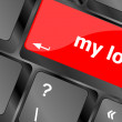 Stock Photo: My love on key or keyboard showing internet dating concept