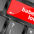Babe of love on key or keyboard showing internet dating concept — Stock Photo