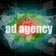 Pixeled word Ad agency on digital screen 3d render — Stock Photo #39112889