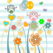 Stock Photo: Cute kids background with flowers, owls and birds