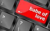 Babe of love on key or keyboard showing internet dating concept — Foto de Stock