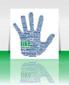 Ilustracja ręka symbol, który składa się z tekstu słowa na mediów społecznych tematów — Zdjęcie stockowe