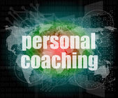 Word personal coaching on digital screen 3d, business concept — Stock Photo