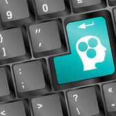 Education concept: Enter button with Head With Gears on computer keyboard, 3d render — Stock Photo