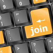 Online communities concept, with 'join us' on computer keyboard. — Stockfoto