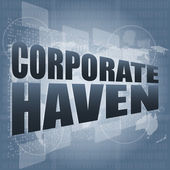 Corporate haven words on digital screen with world map — Stock Photo