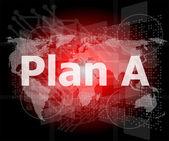 слово план на цифровой экран, концепция бизнеса — Стоковое фото
