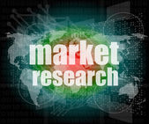 Word Market research on digital screen 3d — Stock Photo