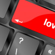 Love with question sign red button word on black keyboard — Stock Photo