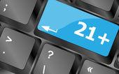 21 plus button on computer keyboard keys — Photo