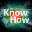 The word know how on digital screen, social concept — Stock Photo
