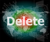 The word delete on digital screen, information technology concept — Stock Photo