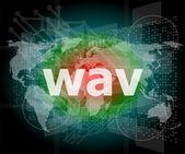 ψηφιακή έννοια: wav λέξη στην ψηφιακή οθόνη — Φωτογραφία Αρχείου