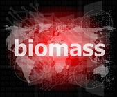 Palavra de biomassa no fundo de tela de toque digital — Fotografia Stock
