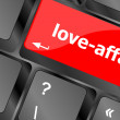Love-affair on key or keyboard showing internet dating concept — Stock Photo
