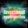 Business concept: words investment opportunities on digital screen, 3d — Stock Photo