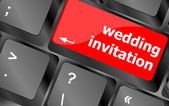 Wedding invitation word button on keyboard key — Foto de Stock