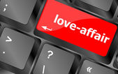 Love-affair on key or keyboard showing internet dating concept — 图库照片