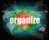 Social concept: word organize on digital touch screen background — Stock Photo