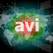 Digital concept: avi word on digital screen — Stock Photo #39659781