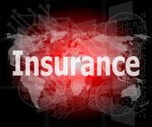 The word insurance on digital screen, business concept — Stock Photo