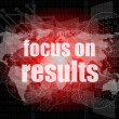 Stock Photo: Life style concept: words focus on results on digital touch screen