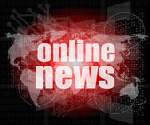 Business concept: words online news on digital touch screen — Stock Photo