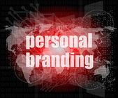 Marketing concept: words personal branding on digital touch screen — Stock Photo