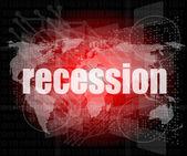 Bedrijfsconcept: woorden recessie op zakelijke digitaal scherm, 3d — Stockfoto